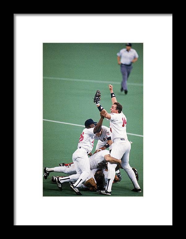 Hubert H. Humphrey Metrodome Framed Print featuring the photograph 1987 World Series St. Louis Cardinals by Mlb Photos