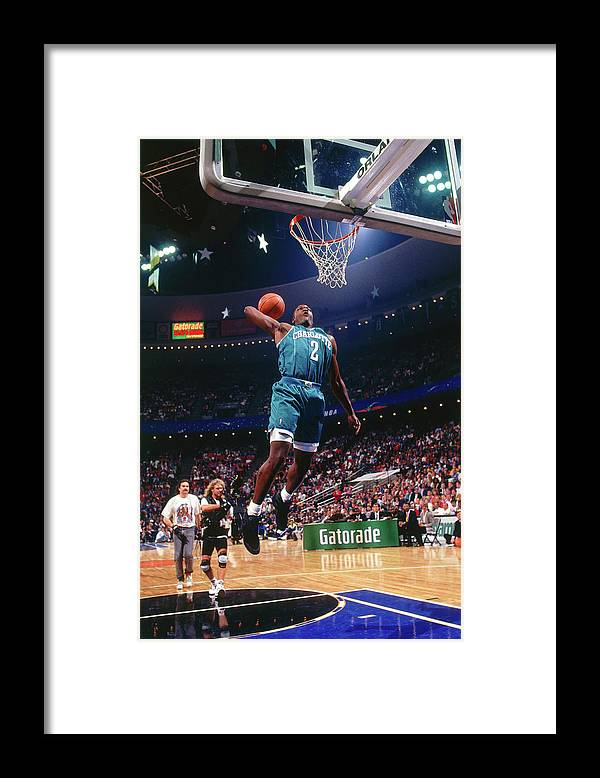Nba Pro Basketball Framed Print featuring the photograph 1992 Slam Dunk Contest Larry Johnson by Andrew D. Bernstein