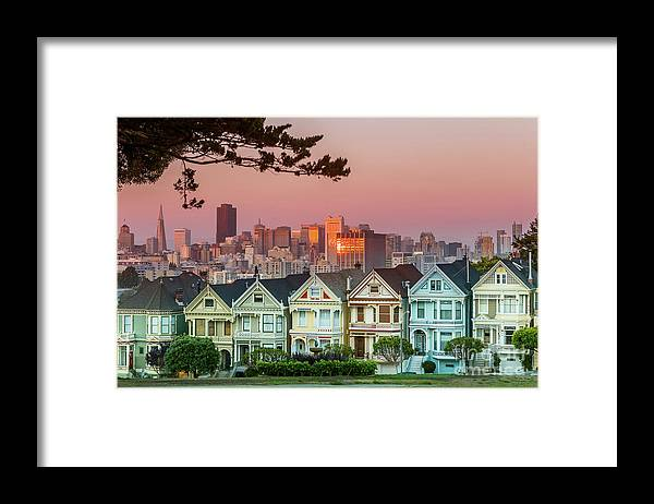 San Francisco Framed Print featuring the photograph Alamo Square And Painted Ladies by Spondylolithesis