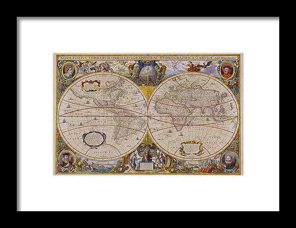 Latitude Framed Print featuring the digital art Antique Map Of The World by Comstock