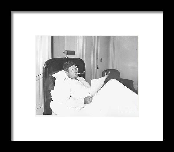 People Framed Print featuring the photograph Babe Ruth by Louis Van Oeyen/ Wrhs