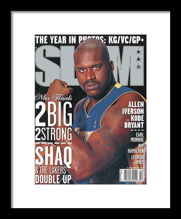 Shaquille O'neal Framed Print featuring the photograph 2 Big - 2 Strong: Shaq & The Lakers Double Up SLAM Cover by Getty Images