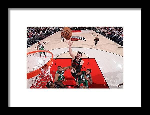 Jusuf Nurkić Framed Print featuring the photograph Boston Celtics V Portland Trail Blazers by Sam Forencich