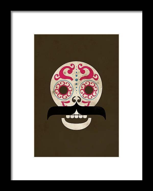 Black Color Framed Print featuring the digital art Calaca by Marco Recuero