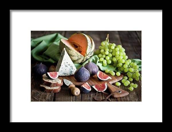 Large Group Of Objects Framed Print featuring the photograph Cheese Board by Verdina Anna