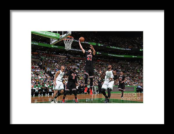 Playoffs Framed Print featuring the photograph Chicago Bulls V Boston Celtics - Game by Brian Babineau