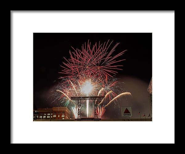 Firework Display Framed Print featuring the photograph Chicago White Sox V Houston Astros by Bob Levey