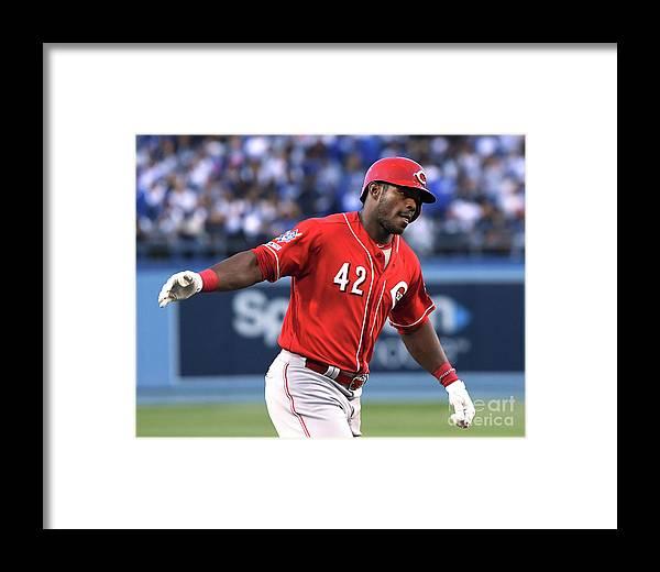 Three Quarter Length Framed Print featuring the photograph Cincinnati Reds V Los Angeles Dodgers 2 by Harry How