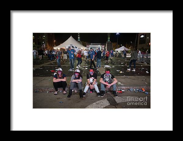 Sport Framed Print featuring the photograph Cleveland Indians Fans Gather To The by Justin Merriman