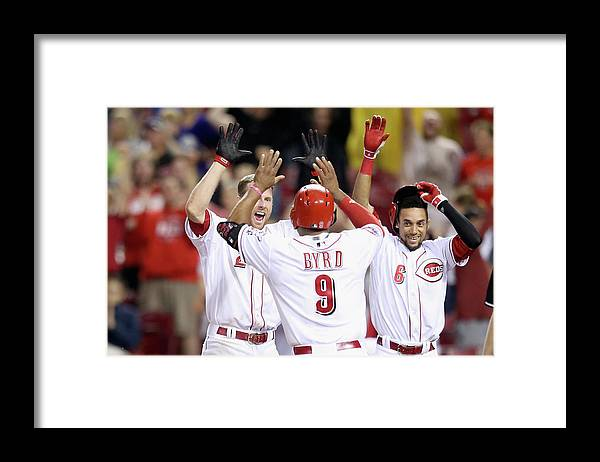 Great American Ball Park Framed Print featuring the photograph Colorado Rockies V Cincinnati Reds by Andy Lyons