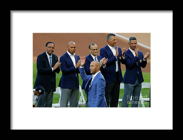 Crowd Framed Print featuring the photograph Derek Jeter Ceremony by Rich Schultz