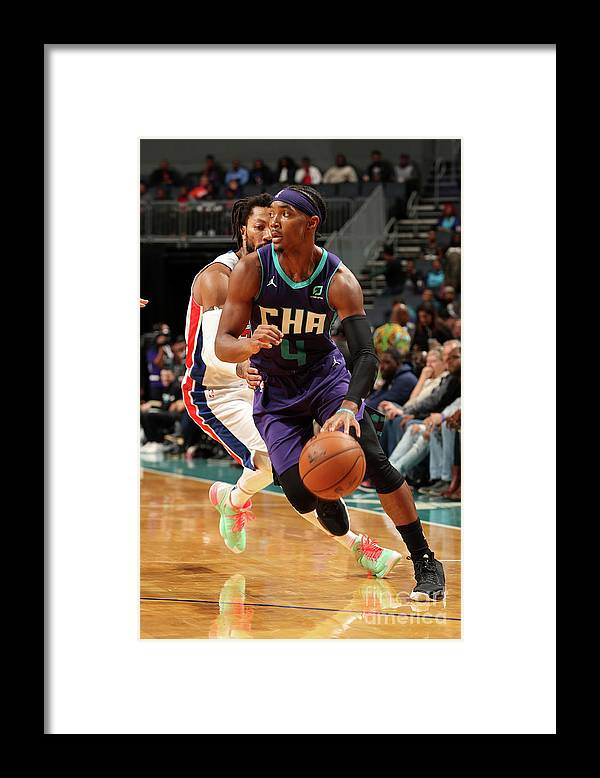 Nba Pro Basketball Framed Print featuring the photograph Detroit Pistons V Charlotte Hornets by Kent Smith