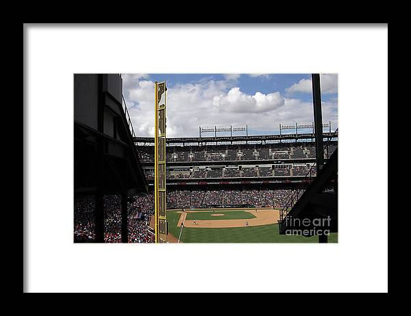 American League Baseball Framed Print featuring the photograph Detroit Tigers V Texas Rangers by Ronald Martinez
