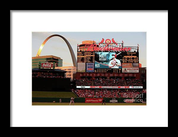 American League Baseball Framed Print featuring the photograph Division Series - Los Angeles Dodgers V by Jamie Squire