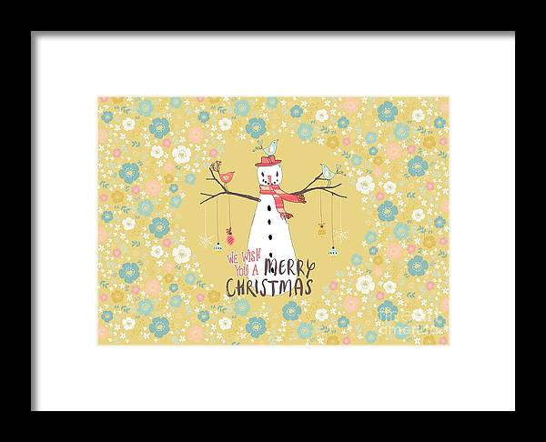 Snowman Framed Print featuring the mixed media Flower Power Christmas Snowman 2 by Amanda Lakey