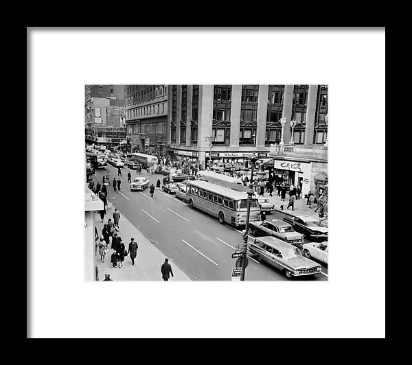 Pedestrian Framed Print featuring the photograph General View Of Pedestrians Crossing by New York Daily News Archive