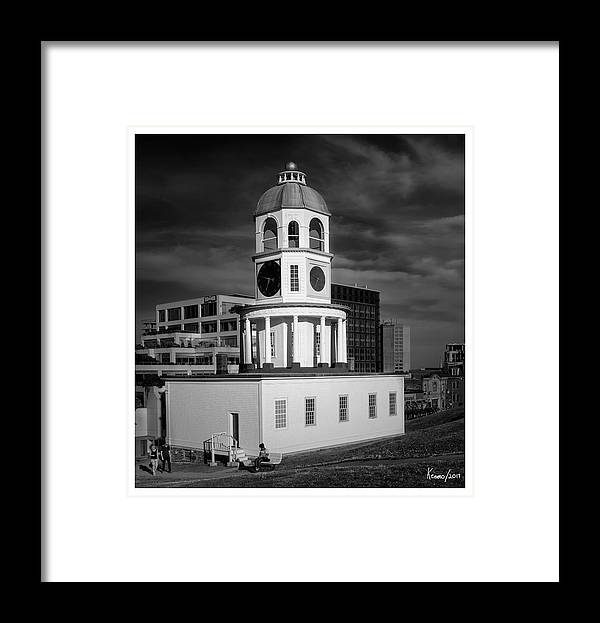 Architecture Framed Print featuring the digital art Halifax Town Clock 2017 Black And White by Ken Morris