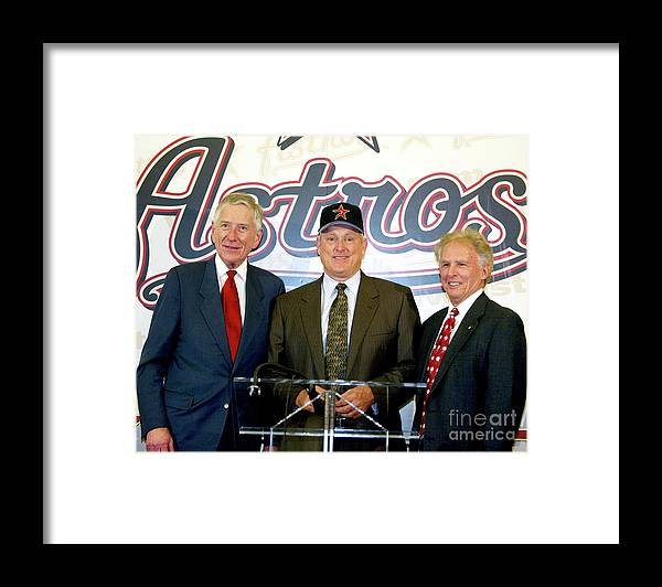 People Framed Print featuring the photograph Houston Astros Sign Nolan Ryan To by Bob Levey