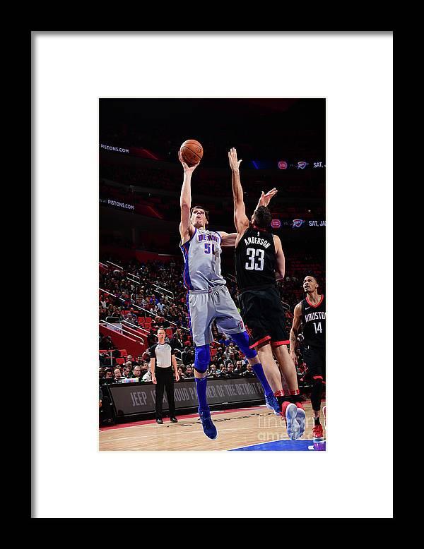 Nba Pro Basketball Framed Print featuring the photograph Houston Rockets V Detroit Pistons by Chris Schwegler