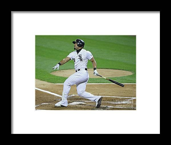 People Framed Print featuring the photograph Los Angeles Angels Of Anaheim V Chicago by Jonathan Daniel