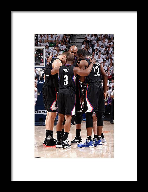 Playoffs Framed Print featuring the photograph Los Angeles Clippers V Utah Jazz - Game by Andrew D. Bernstein