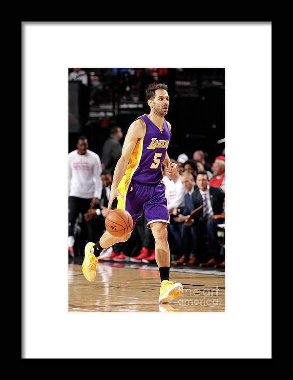 Nba Pro Basketball Framed Print featuring the photograph Los Angeles Lakers V Portland Trail by Cameron Browne