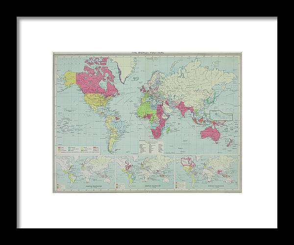 South America Framed Print featuring the photograph Map Of The World by Hemera Technologies