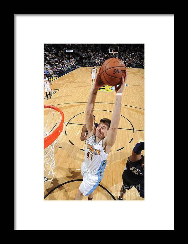 Nba Pro Basketball Framed Print featuring the photograph Memphis Grizzlies V Denver Nuggets by Garrett Ellwood