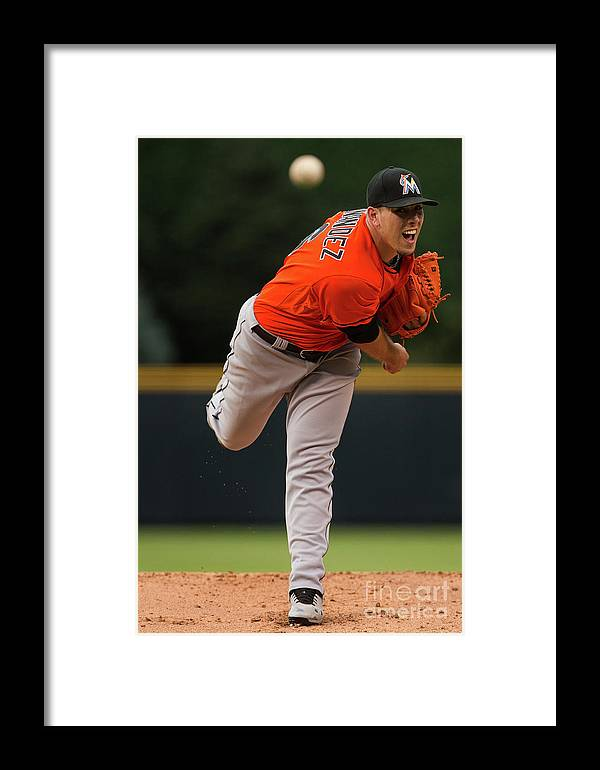 People Framed Print featuring the photograph Miami Marlins V Colorado Rockies by Justin Edmonds