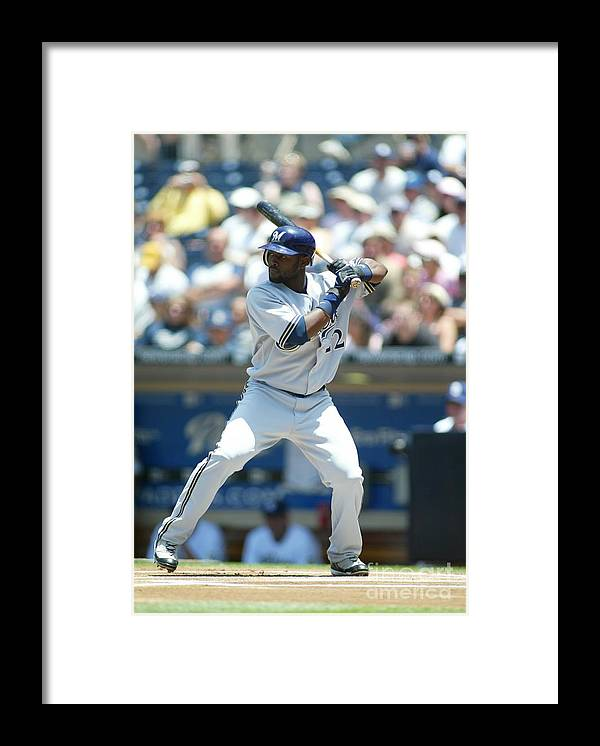 Tony Gwynn Jr. Framed Print featuring the photograph Milwaukee Brewers V San Diego Padres by Rob Leiter