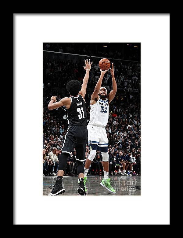 Nba Pro Basketball Framed Print featuring the photograph Minnesota Timberwolves V Brooklyn Nets by Nathaniel S. Butler