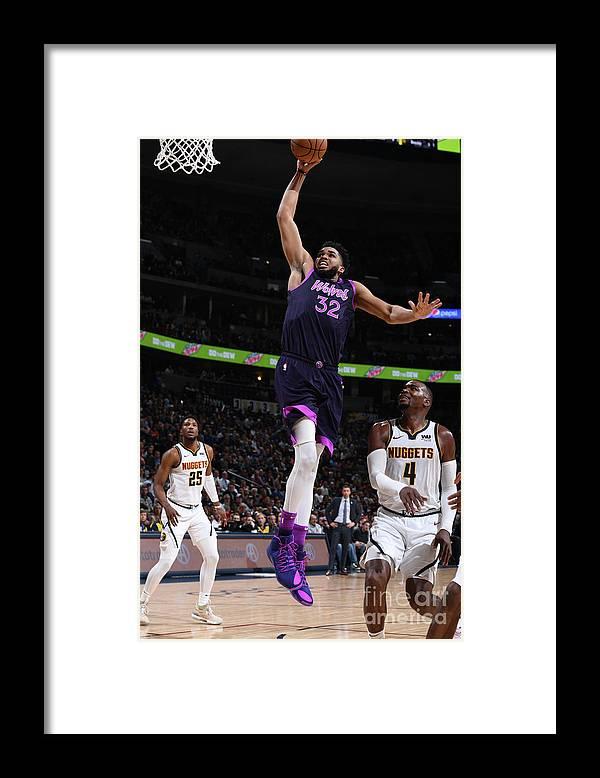 Nba Pro Basketball Framed Print featuring the photograph Minnesota Timberwolves V Denver Nuggets by Garrett Ellwood