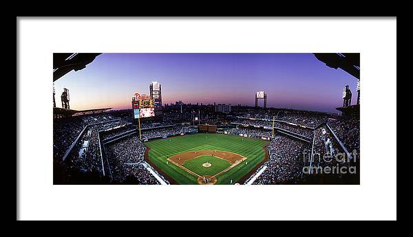 Panoramic Framed Print featuring the photograph Montreal Expos V Philadelphia Phillies by Jerry Driendl