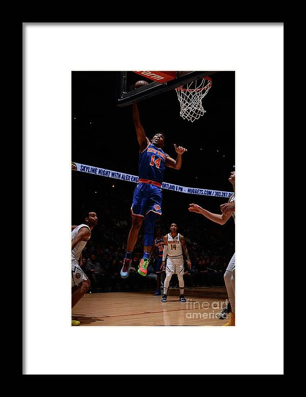 Nba Pro Basketball Framed Print featuring the photograph New York Knicks V Denver Nuggets by Bart Young