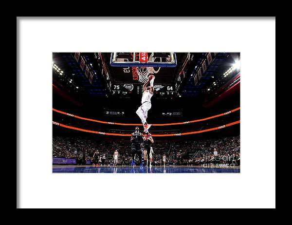 Nba Pro Basketball Framed Print featuring the photograph New York Knicks V Detroit Pistons by Brian Sevald