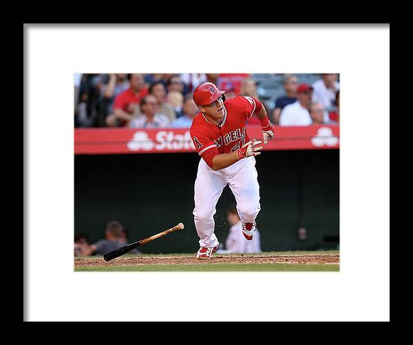 People Framed Print featuring the photograph New York Yankees V Los Angeles Angels 2 by Stephen Dunn