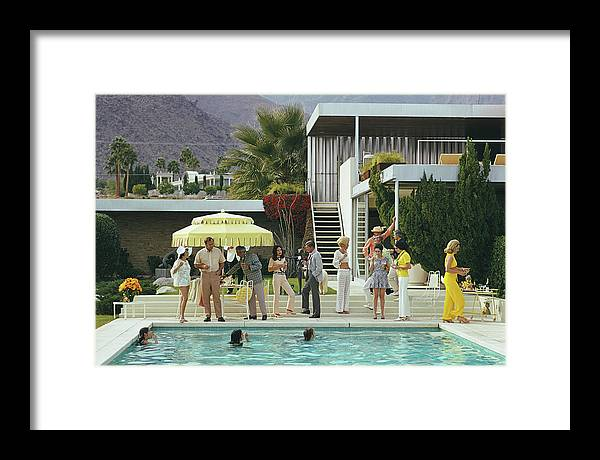 People Framed Print featuring the photograph Poolside Party by Slim Aarons