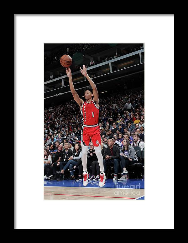 Nba Pro Basketball Framed Print featuring the photograph Portland Trail Blazers V Sacramento by Rocky Widner
