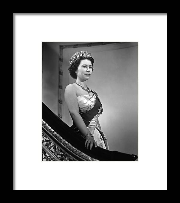 1950-1959 Framed Print featuring the photograph Queen Elizabeth II Portrait by Michael Ochs Archives