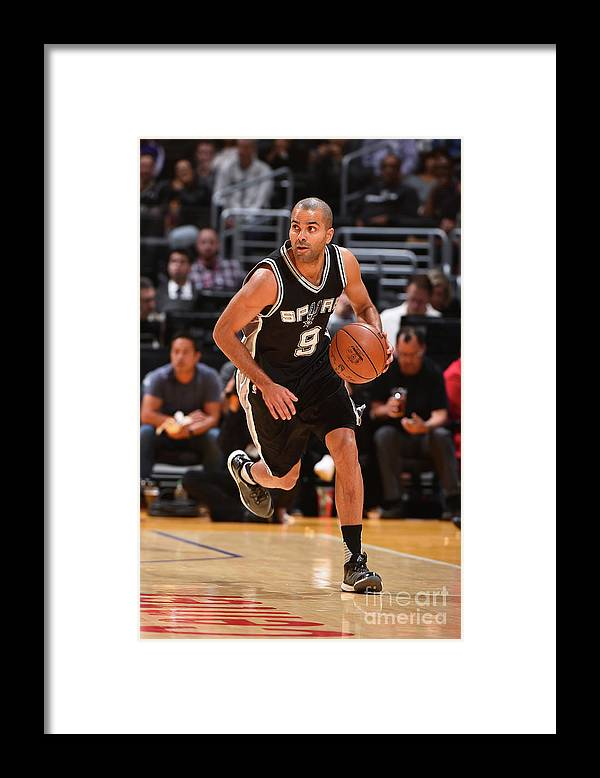 Sport Framed Print featuring the photograph San Antonio Spurs V Los Angeles Lakers by Andrew D. Bernstein