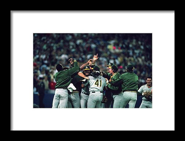 Candlestick Park Framed Print featuring the photograph San Francisco Giants Vs Oakland 2 by Mlb Photos