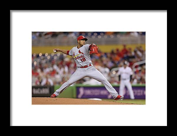 St. Louis Cardinals Framed Print featuring the photograph St Louis Cardinals V Miami Marlins by Rob Foldy