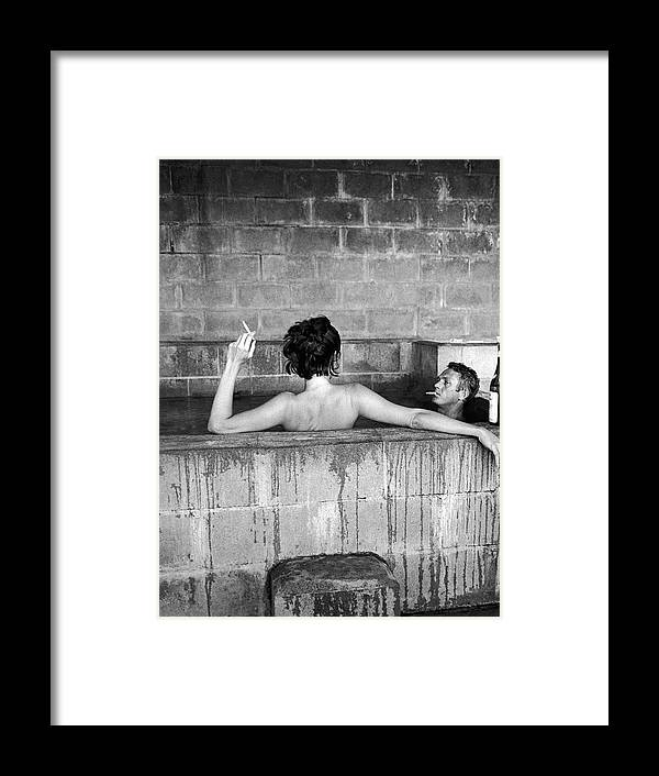 Timeincown Framed Print featuring the photograph Steve Mcqueen & Wife by John Dominis