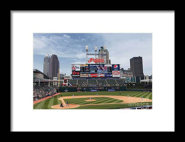 American League Baseball Framed Print featuring the photograph Texas Rangers V Cleveland Indians by Joe Robbins