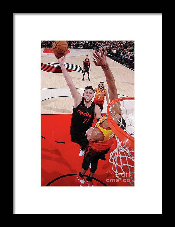 Jusuf Nurkić Framed Print featuring the photograph Utah Jazz V Portland Trail Blazers by Sam Forencich