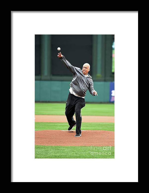 People Framed Print featuring the photograph Washington Nationals V Atlanta Braves by Stacy Revere