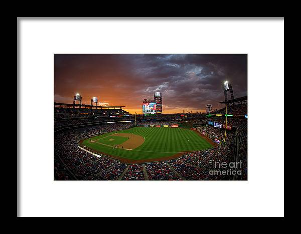 American League Baseball Framed Print featuring the photograph Washington Nationals V Philadelphia by Mitchell Leff