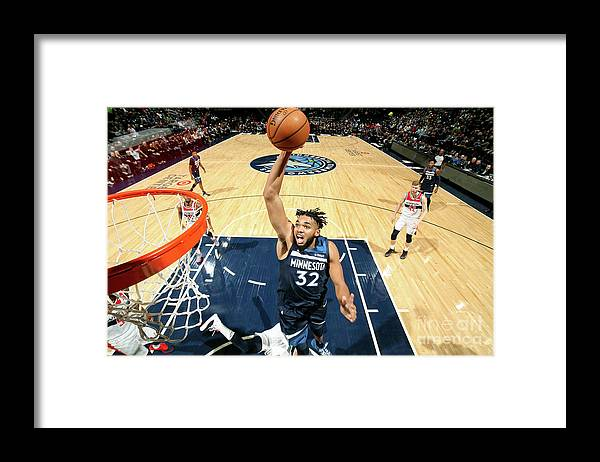 Nba Pro Basketball Framed Print featuring the photograph Washington Wizards V Minnesota by David Sherman