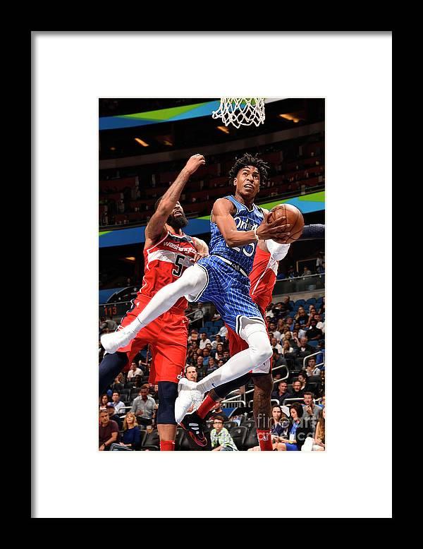 Nba Pro Basketball Framed Print featuring the photograph Washington Wizards V Orlando Magic by Gary Bassing