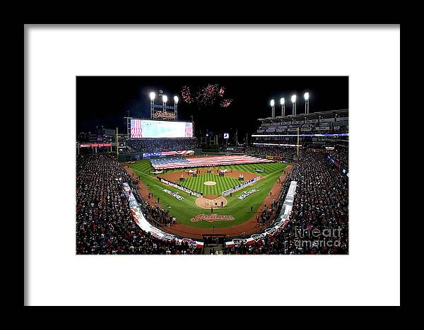 American League Baseball Framed Print featuring the photograph World Series - Chicago Cubs V Cleveland by Jason Miller